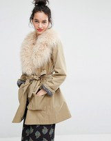Essentiel Antwerp Malicious Fake Fur Collar Coat