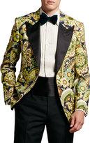 Tom Ford Floral-Print Hopsack Tuxedo Jacket, Green Pattern