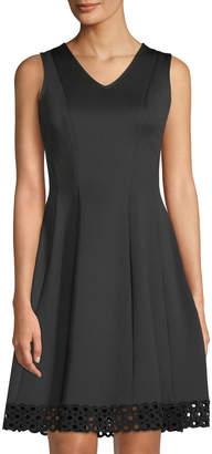 Donna Ricco V-Neck Fit & Flare Lace-Hem Dress