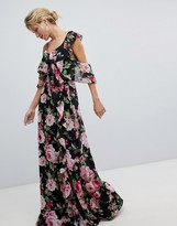 Asos DESIGN Wrap Maxi Dress With Ruffles In Dark Floral Print