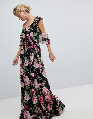 ASOS DESIGN Wrap Maxi Dress With Ruffles In Dark Floral Print