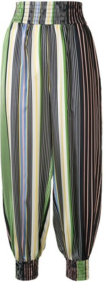 Tory Burch Striped Balloon-Leg Trousers