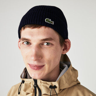 Lacoste Men's Ribbed Wool Blend Beanie