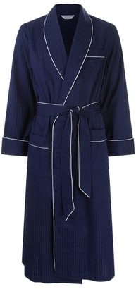 Derek Rose Pin Dot Piped Dressing Gown