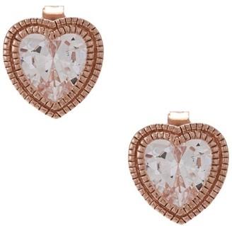 La Preciosa Rose Goldplated Silver Cubic Zirconia Heart Earrings
