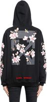 Off-White Cherry Blossom Hooded Cotton Sweatshirt
