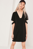 Missguided Square Neck Cut Out Sleeve Dress Black