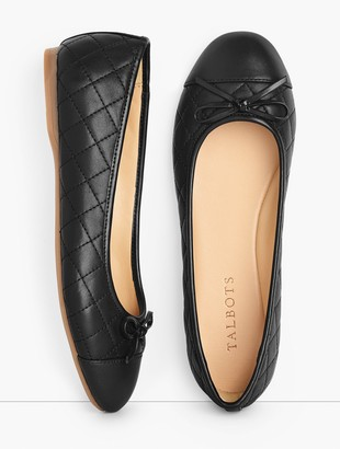 Talbots Penelope Cap Toe Ballet Flats - Quilted Nappa