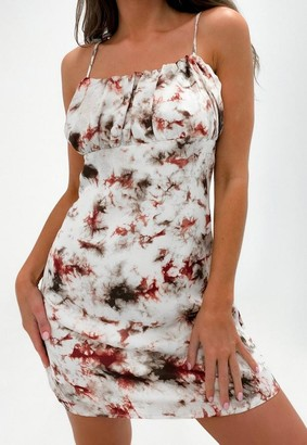Missguided Red Tie Dye Satin Ruched Bust Tie Strap Mini Dress