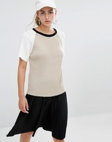 Daisy Street T-Shirt In Rib With Color Block