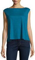 Eileen Fisher Cap-Sleeve Boxy Organic Jersey Shell