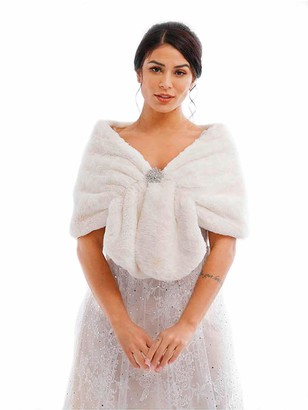 Awanka Bride Wedding Fur Shawls and Warps Bridal Faux Fur Stoles Winter Fur Scarf with Crystal Brooch for Women (Ivory)