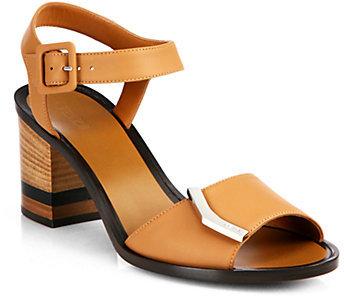 Fendi Demetra Leather Ankle-Strap Sandals