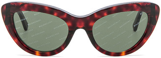 Balenciaga Cat Eye Sunglasses in Red Havana | FWRD
