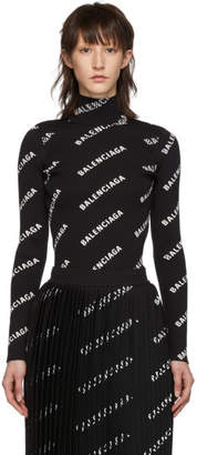 Balenciaga Black Rib Knit Logo Turtleneck