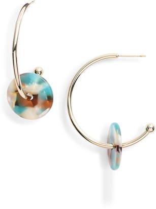 Sterling Forever Mosaic Disc Hoop Earrings