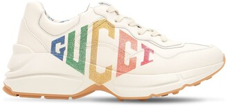 Gucci 50MM RHYTON GLITTER & LEATHER SNEAKERS