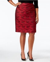 Calvin Klein Plus Size Floral Brocade Pencil Skirt