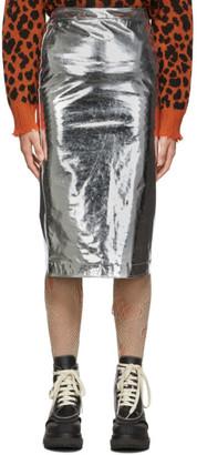 McQ Silver Metallic Kick Back Skirt
