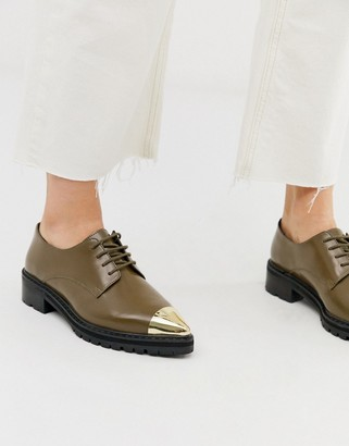 Asos Design DESIGN Mixed leather pointed flat shoes in khaki