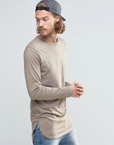 Asos Super Longline Long Sleeve T-Shirt With Side Splits In Beige