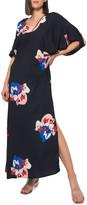 Jaline Beatriz Printed Kimono Sleeve Double V-Neck Long Dress