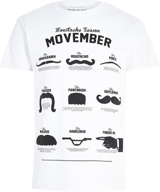 River Island White moustache print crew neck t-shirt