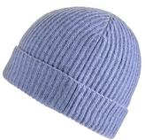 Black Denim Blue Rib Knit Cashmere Beanie