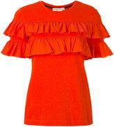Tory Burch ruffled T-shirt - women - Cotton - M