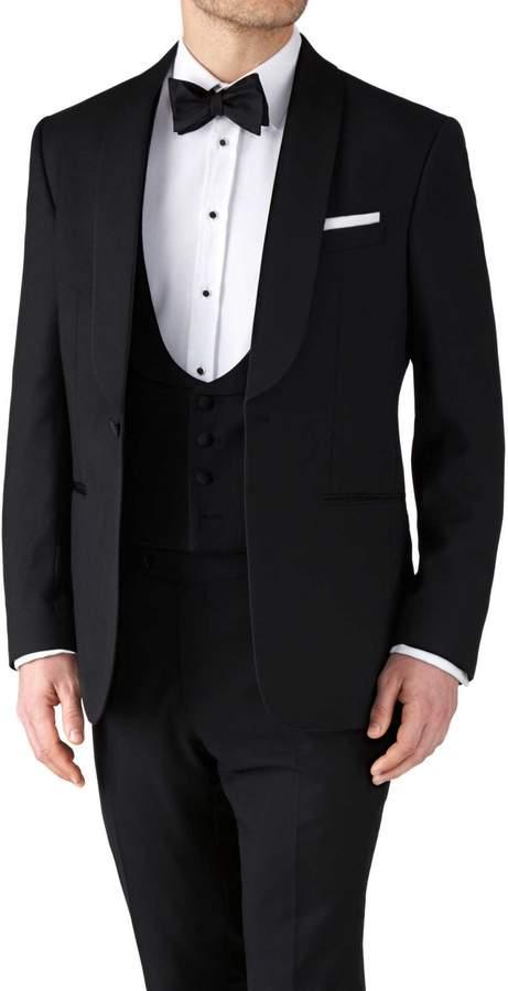 Charles Tyrwhitt Black Classic Fit Shawl Collar Tuxedo Wool Jacket Size 36