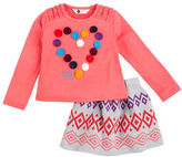 Petit Lem Girls 2-6x Bohemian Princess 2 Piece Top and Sweater Knit Skirt Set