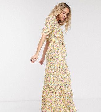 Reclaimed Vintage inspired tiered smock maxi dress with tie front in floral print