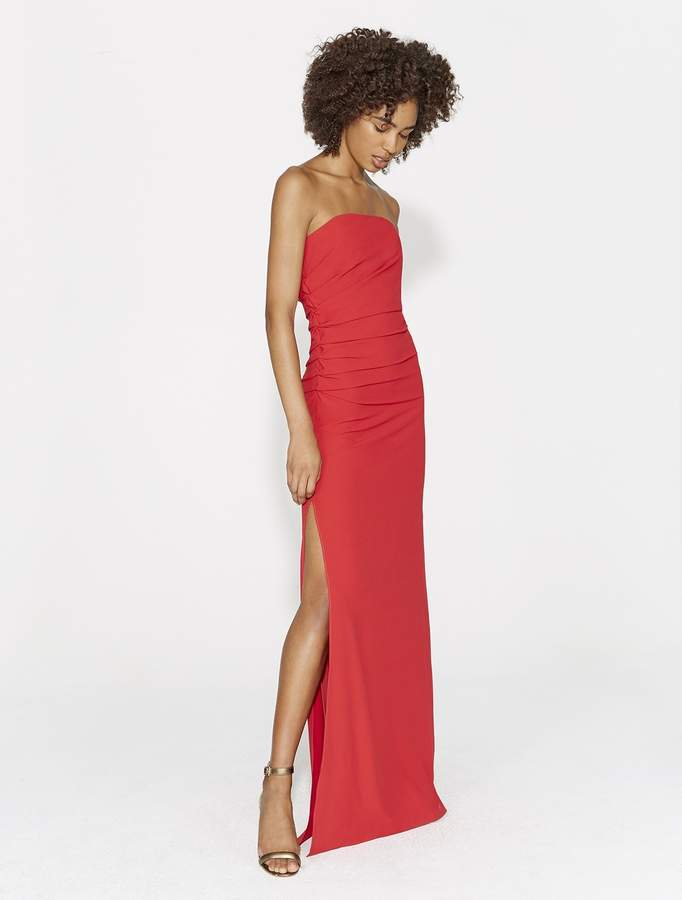 Halston STRAPLESS RUCHED SIDE CREPE GOWN