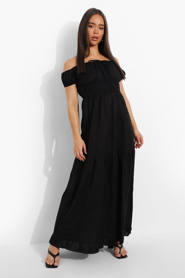boohoo Cotton Bardot Tie Detail Tiered Maxi Dress