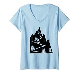 Womens Mountain Bike - MTB Downhill Biking Cycling Biker Gift V-Neck T-Shirt