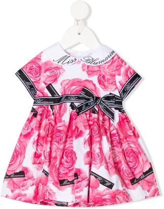 Miss Blumarine Floral Flared Dress