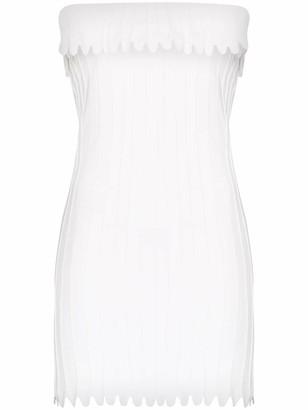 Coperni Strapless Scallop-Detailed Mini Dress
