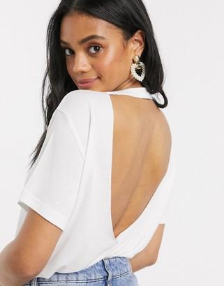 Asos DESIGN open back t-shirt in white