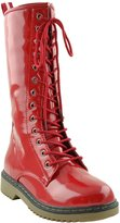 FL By KSC Womens Mid Calf Boots Shiny Lace Up Combat Casual Zip Up Shoes SZ 7.5
