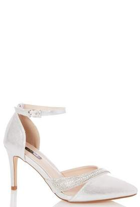 Dorothy Perkins Womens *Quiz Wide Fit Silver Diamante Heels Court Shoes, Silver