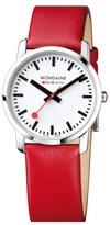 Mondaine 'Simply Elegant' Leather Strap Watch, 36mm