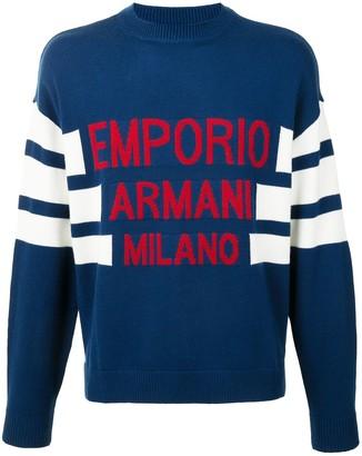 Emporio Armani Contrast-Logo Crewneck Jumper