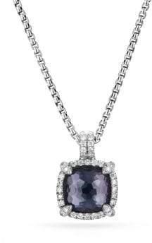 David Yurman Chatelaine? Pave Bezel Pendant Necklace with Black Orchid and Diamonds
