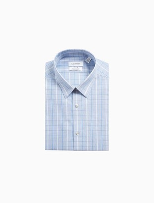Calvin Klein Slim Fit Blue Plaid Performance Non-Iron Dress Shirt