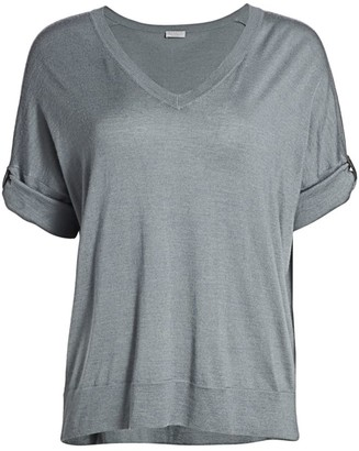 Brunello Cucinelli Monili Tab Cashmere & Silk T-Shirt