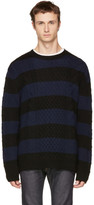 McQ Black & Navy Striped Cable Crewneck Sweater