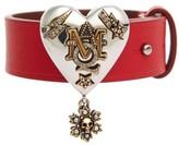 Alexander McQueen Women's Metallic Heart Leather Bracelet