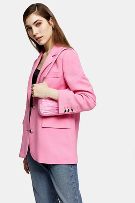 Topshop Womens Pink Single Breasted Suit Blazer - Pink