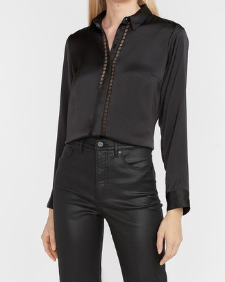 Express Satin Lace Trim Portofino Shirt