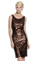 Carmen Marc Valvo Collection Leopard Sequin Sheath Dress